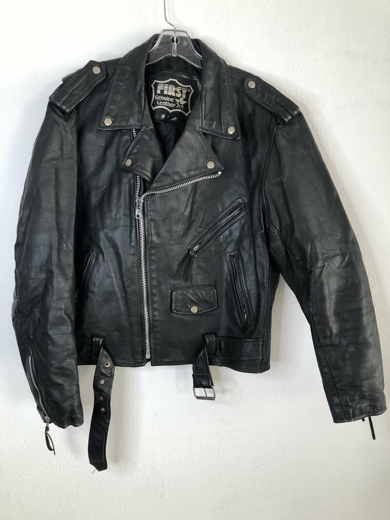 Buy Black men's jacket from real leather casual jacket short jacket motorcycle jacket vintage jacket rocker style steep jacket has size-46.