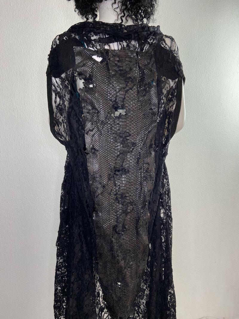 Buy Black lace long vest size medium