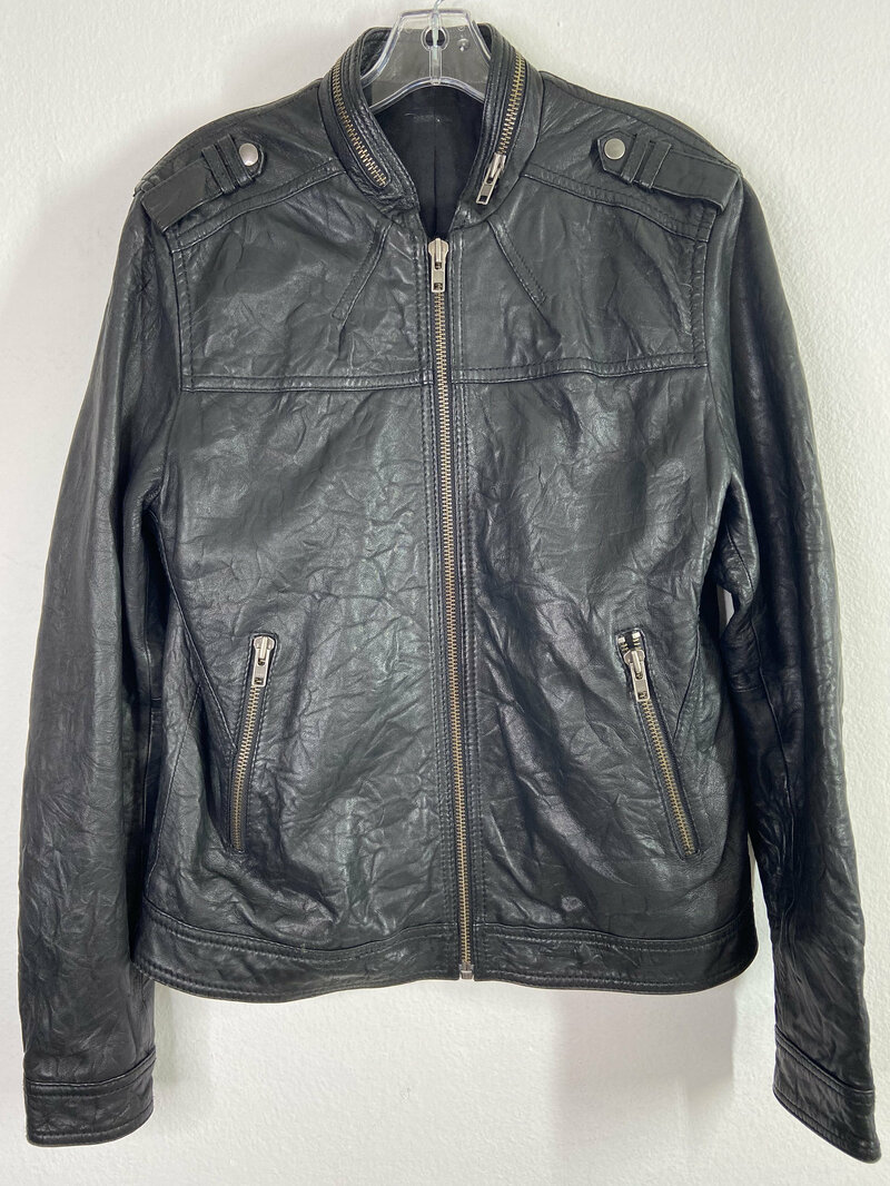 Buy Black men's jacket from real leather streetstyle jacket motorcycle jacket vintage jacket rocker style steep jacket has size-medium.