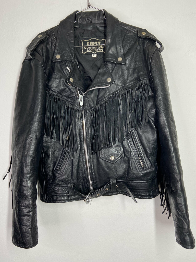 Buy Black jacket real leather size small