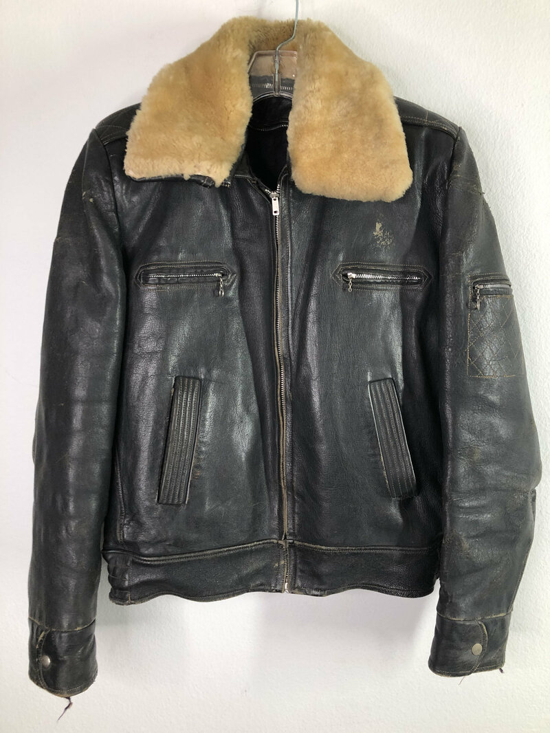 Buy Black men's jacket from real leather streetstyle jacket casual jacket vintage jacket rocker style pilot jacket steep jacket has size-small.