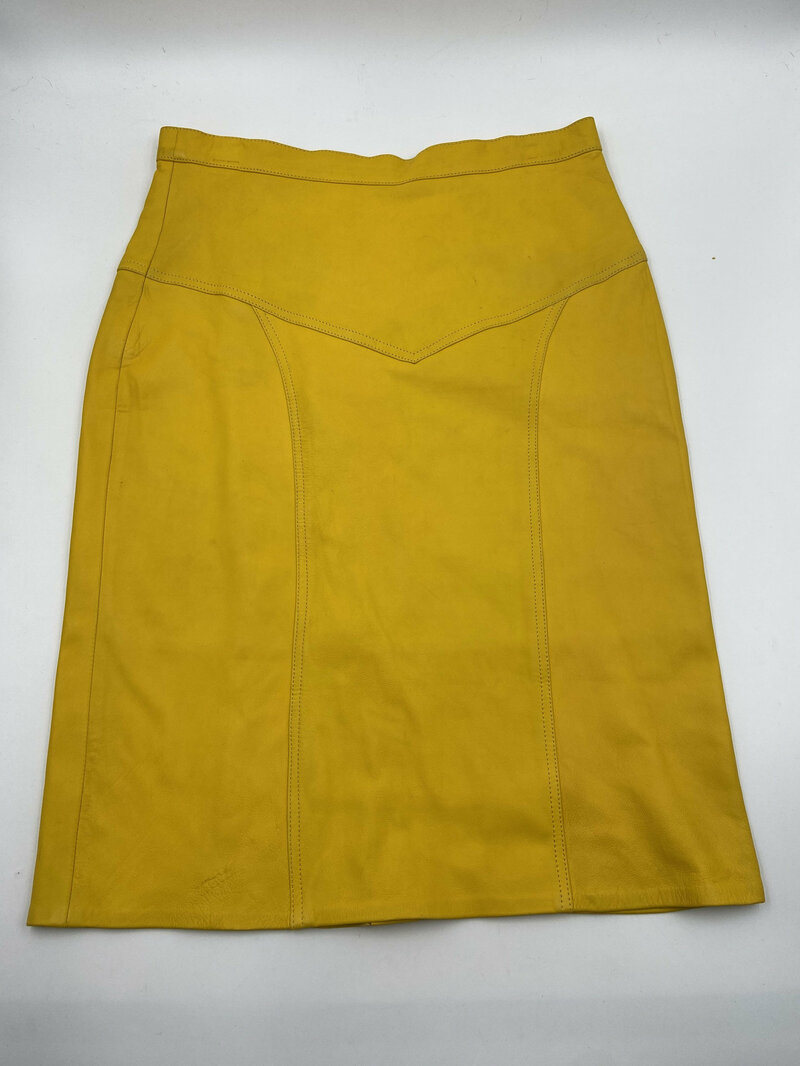 Buy Yellow women's skirt real leather smooth and genuine leather classical skirt midi skirt vintage skirt casual skirt modern skirt has size-14.