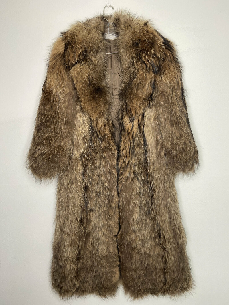 Buy Brown men's coat from real raccoon fur warm coat winter coat long coat vintage coat classical coat casual streetstyle coat has size-small.