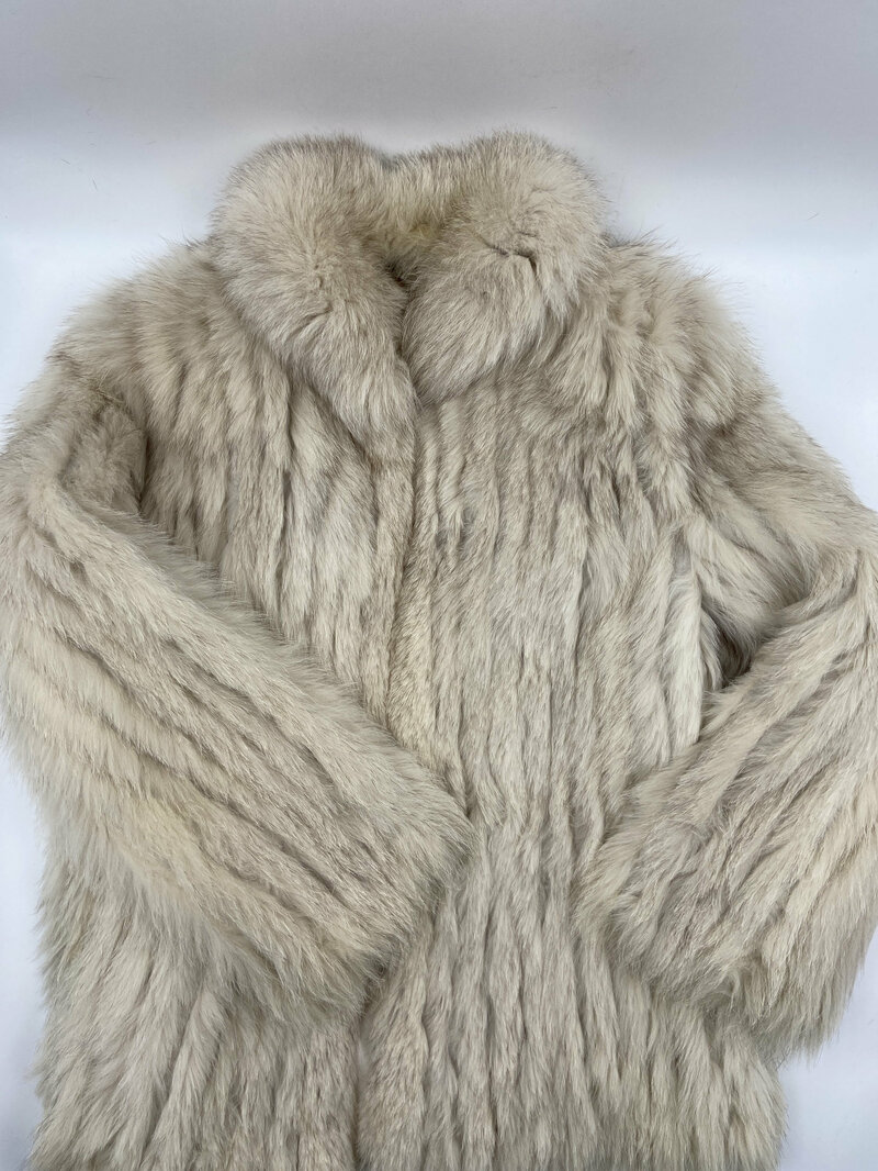 Buy White Polar Fox Fur Coat Short Womens with a fluffy cozy collar straight silhouette with pockets womens size is large.