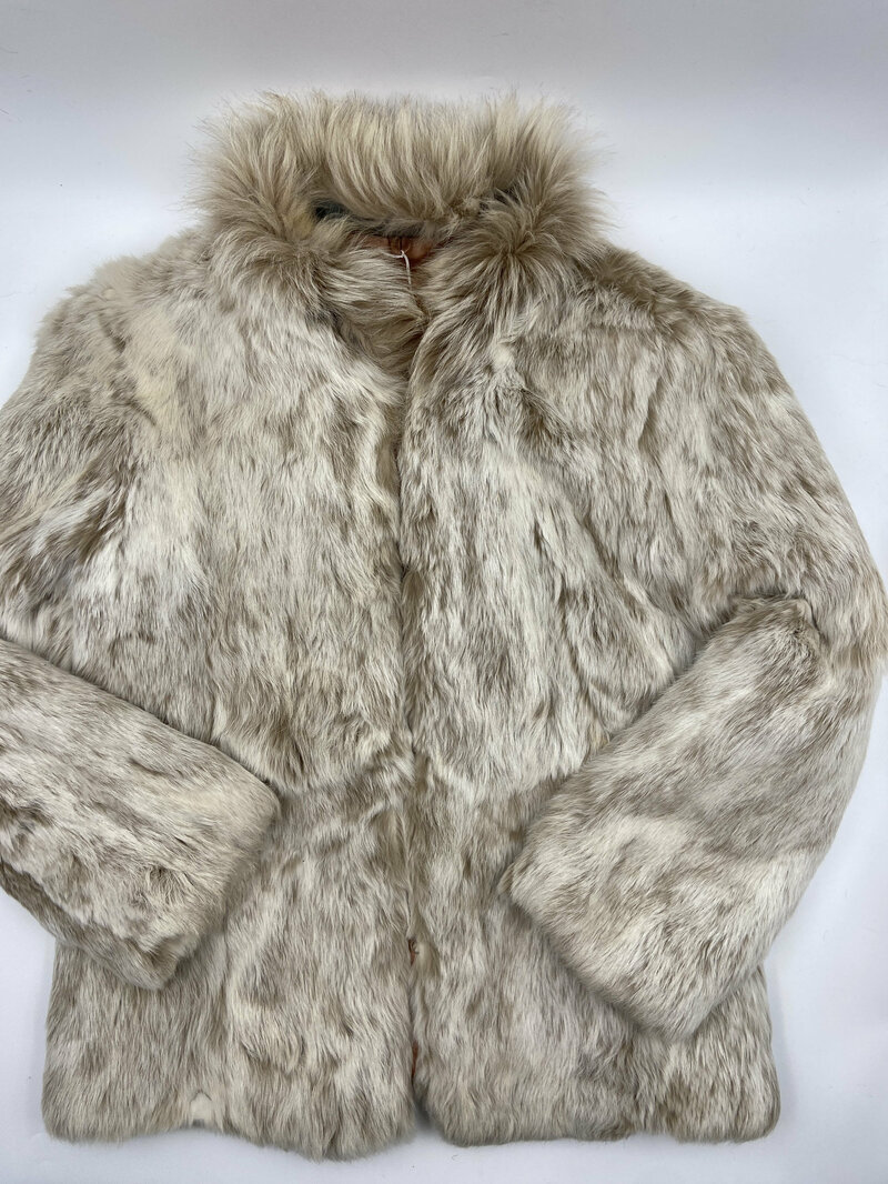 Buy Rabbit Fur Coat Womens Short  Warm Beige in classic style winter fur coat with a  small fluffy collar womens size small.