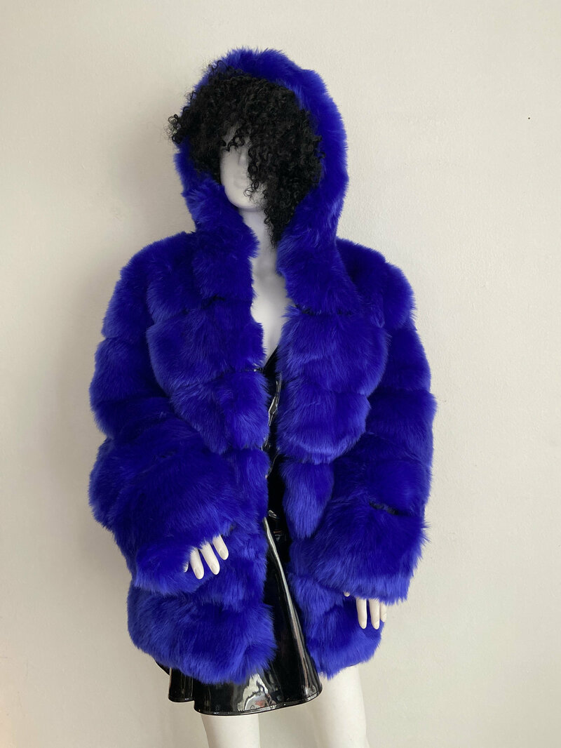 Buy Indigo Blue Womens coat real vegan fur vegan leather casual coat classical steep warm coat modern coat vintage coat streetstyle size-medium.