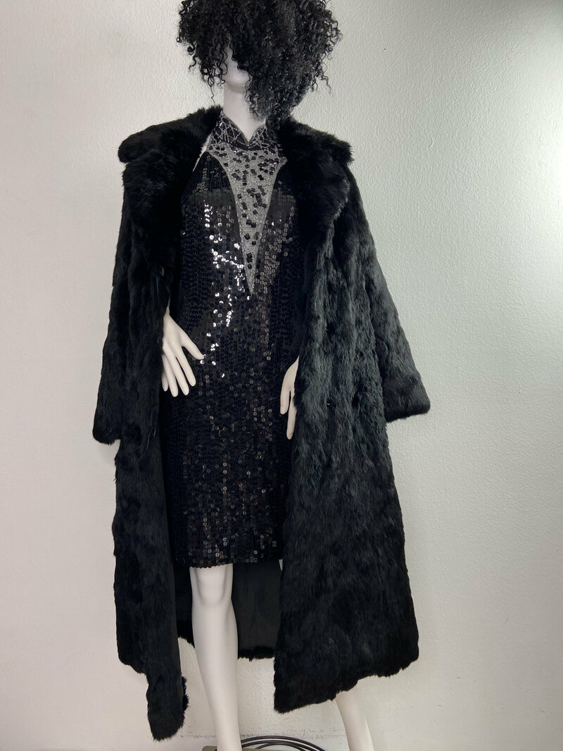Buy Black Women's Coat real rabbit fur casual coat classical coat warm coat long coat vintage coat winter coat streetstyle coat has size-medium.