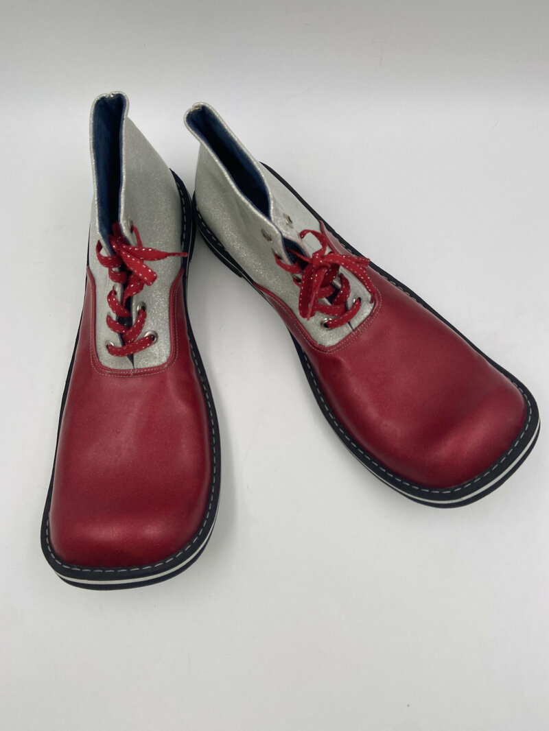 Buy Red men's clown's shoes from real leather vintage shoes short shoes party boots show shoes TV show shoes funny shoes red color has size 10.
