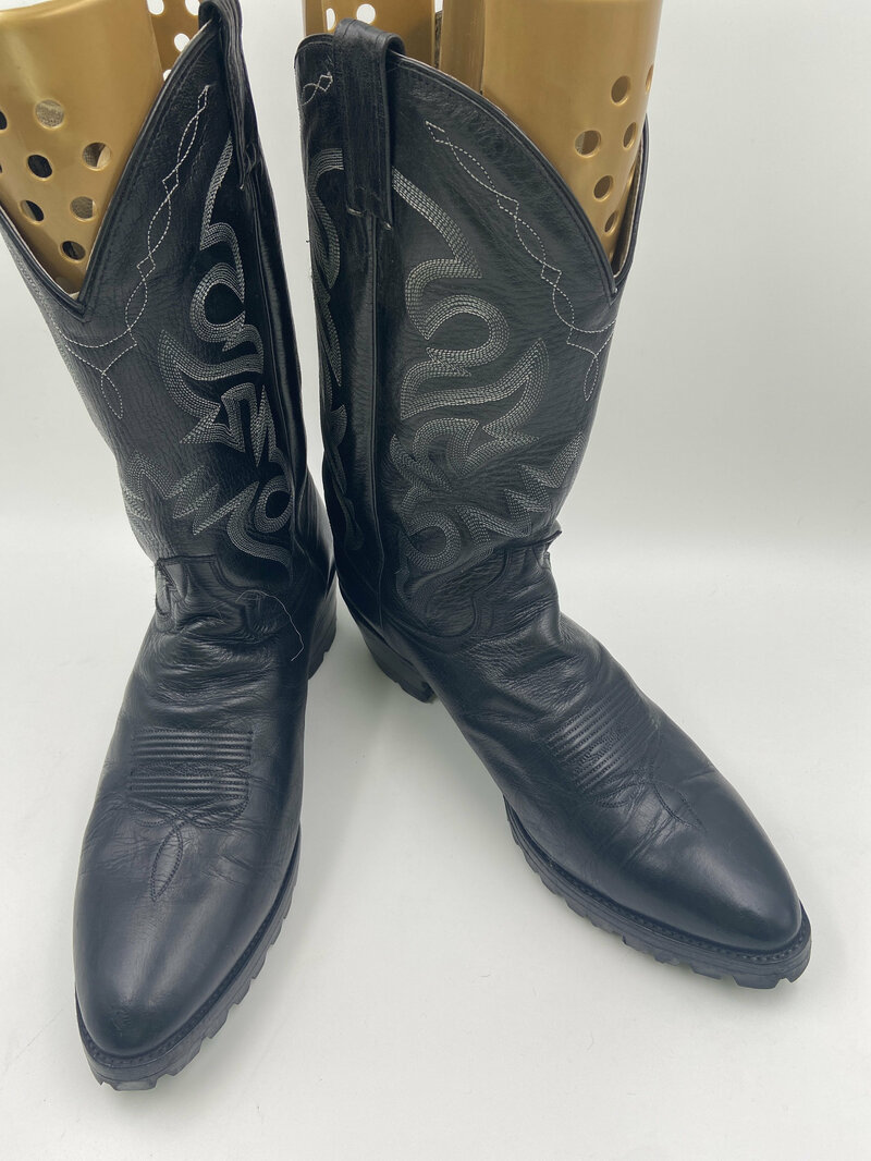 Buy Dan post cowboy boots size 14, black leather cowboy boots