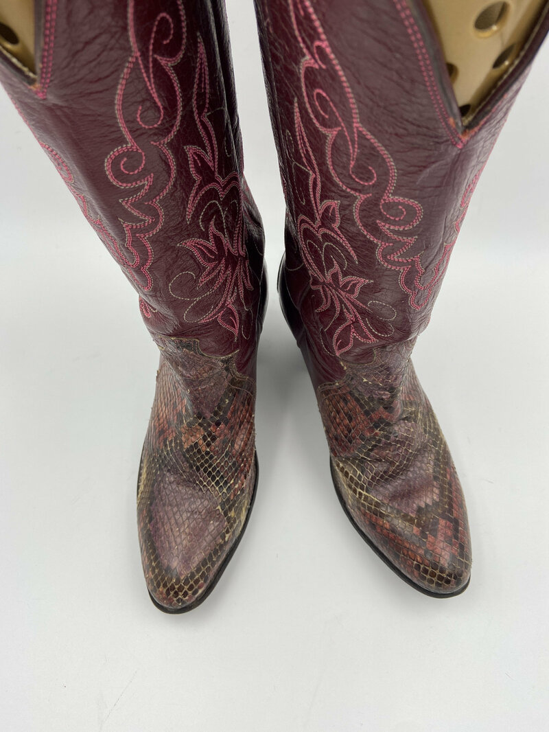 Buy Bright Pink Women's boots from real python leather vintage embroidered with amazing pattern high heel western cowgirl boots has size 7US.