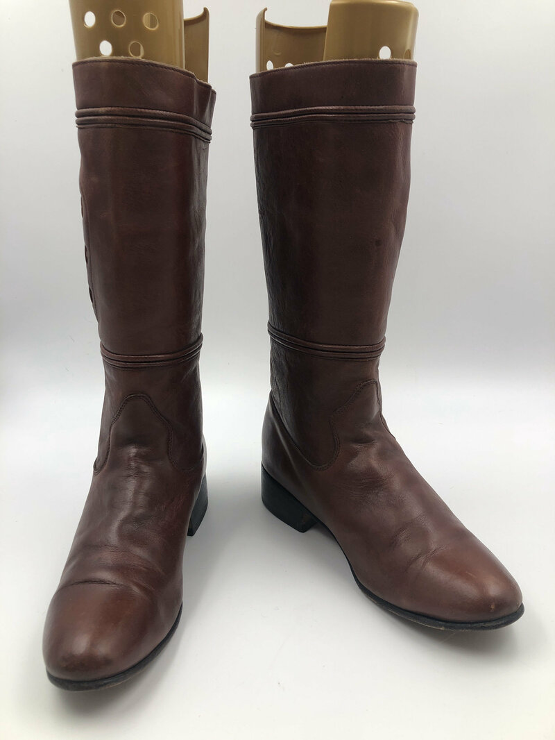 Buy Brown Women's boots real leather genuine and smooth leather vintage boots casual boots classical streetstyle retro brown color size 8 1/2.