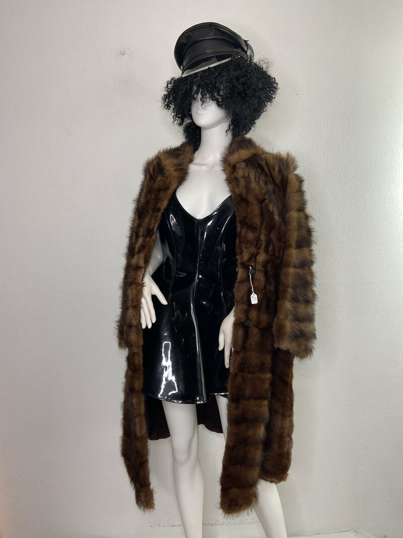 Buy Mink Fur Coat for Womens Long Vintage made of fur noble brown color of an flared silhouette with a cozy collar with a buttons size is small.