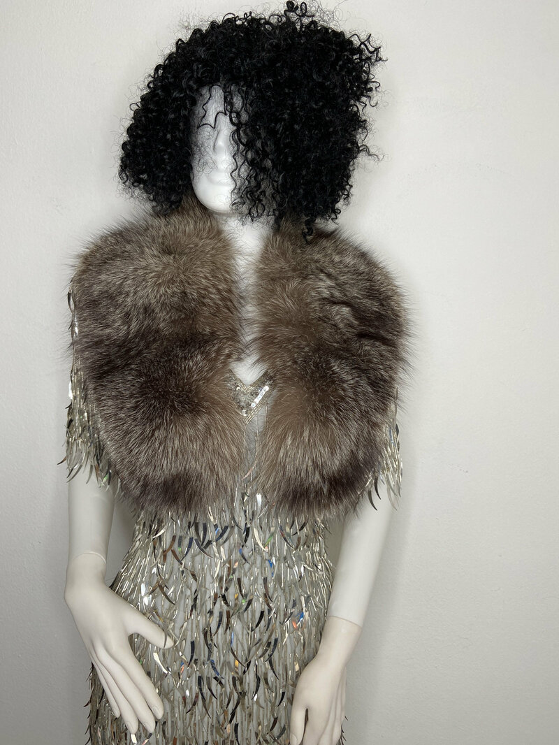 Buy Silver fox fur collar