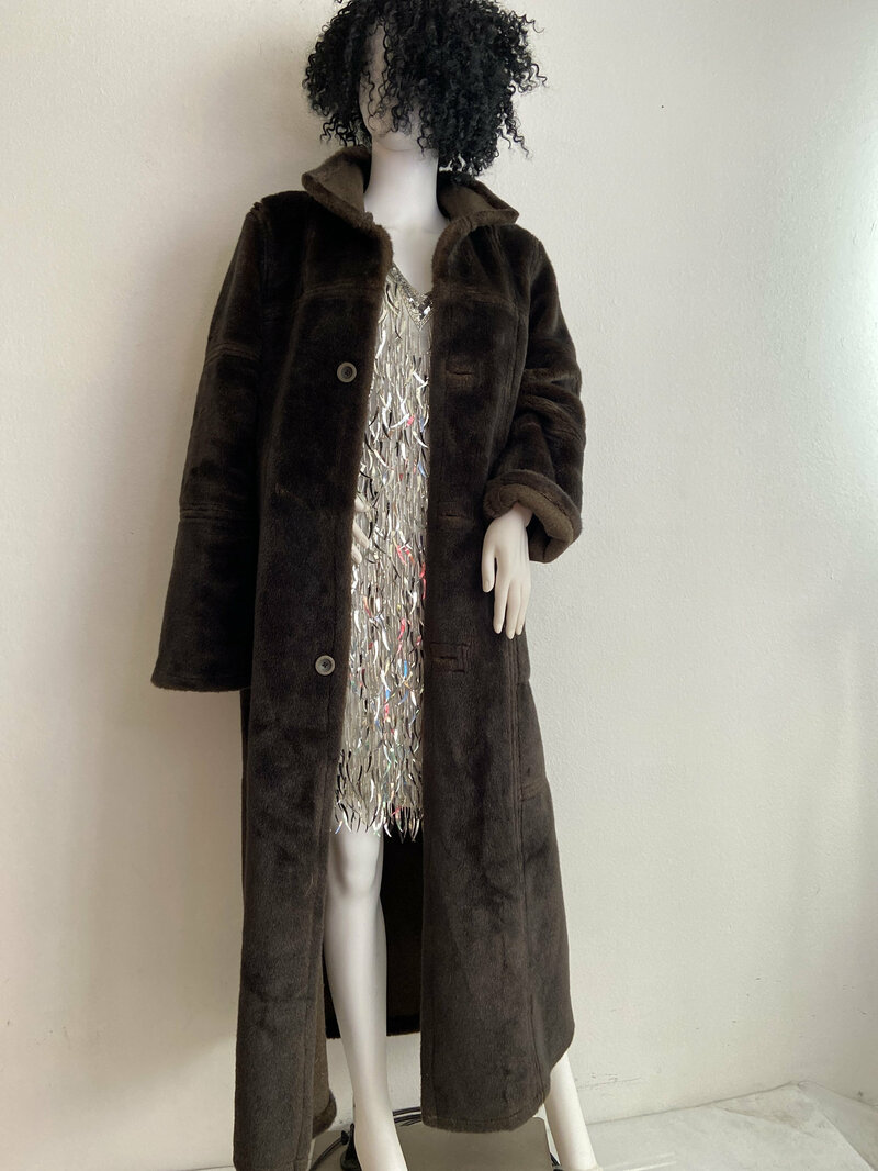 Buy Brown Women's Coat faux fur casual coat classical coat warm coat long coat vintage coat luxury coat two-sides coat has size-small/medium.