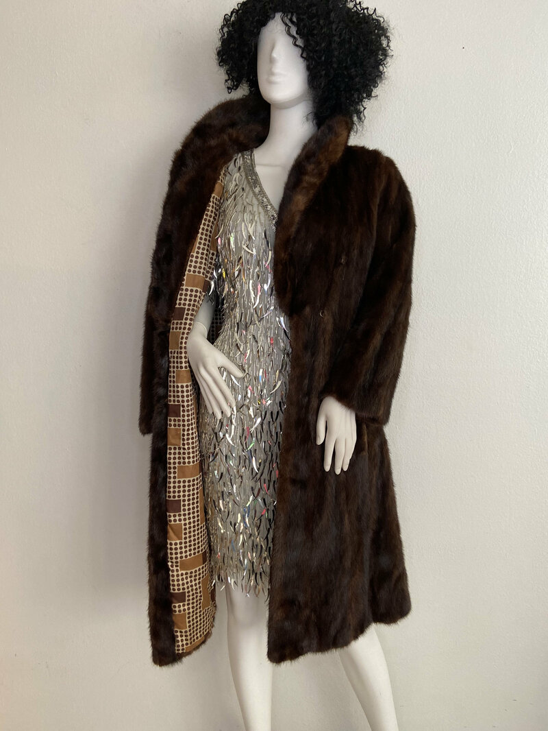 Buy Dark Brown women's coat from real mink fur casual coat classical coat warm coat midi coat vintage coat luxury coat has size-medium.